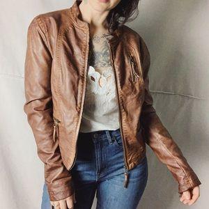 BAGATELLE Vegan Leather Brown Moto Jacket
